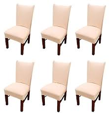 Moonter 6 X Stretch Removable And Washable Spandex Fabric Dining Room Chair Covers Set