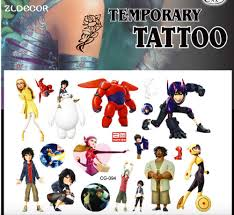 ZLDECOR New Design Tattoo Hero 6 Baymax Cartoon Temporary Tattoos Sticker For Kids Birthday Party Decoration