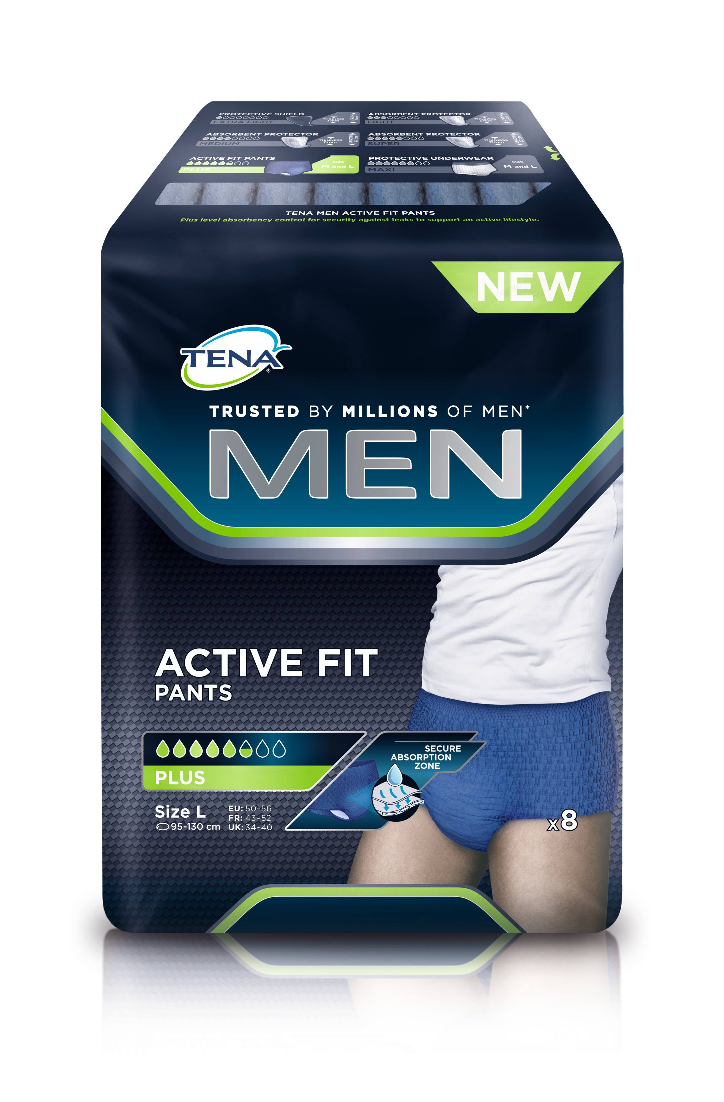 Tena Men Active Fit Pants - Large, 8 Pack