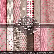Valentines Day Digital Paper VALENTINES PAPER Rustic Valentine Backgrounds Hearts On Kraft Linen Wood Patterns