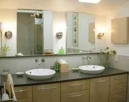 Beige Bathroom Design Ideas by Beige Bathroom Wall Painted Feat Twin Frameless Mirror Over Wood