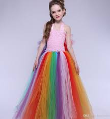 new girls rainbow tutu dress princess tulle dress kids birthday