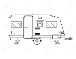 Traveler Truck Camper Outline Icon In Thin Line Design Vector
