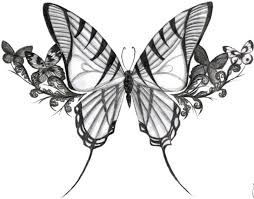 Big Butterfly With Flowers Tattoo Design