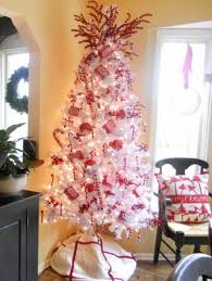 White Christmas Tree With Red And Gold Decorations 20