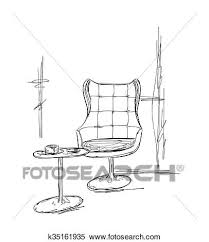 dessiner une chaise clipart dessiné chaise et table café croquis k35161935