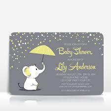 Elephant Baby Shower Invitation Yellow On Grey With Umbrella