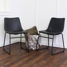 100 Black Leather Side Dining Chairs Chair Dinette