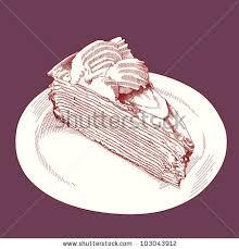 Vector Hand Drawn Slice of Cake Slice Drawing Vintage