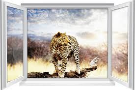 wandtattoo wandbild fenster leopard wohnzimmer deko