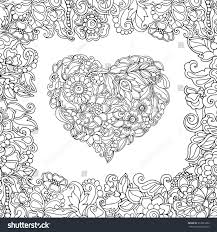 Coloring Book For Adult And Older Children Page With Vintage Flowers Pattern Heart
