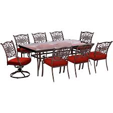 Hanover Outdoor Furniture Tradtions 9-Piece Red Metal Frame Patio ... Crosley Griffith Outdoor Metal Five Piece Set 40 Patio Ding How To Paint Fniture Best Pick Reports Details About Bench Chair Garden Deck Backyard Park Porch Seat Corentin Vtg White Mid Century Wrought Iron Ice Cream Table Two French White Metal Patio Chairs W 4 Chairs 306 Mainstays Jefferson Rocking With Red Choosing Tips For At Lowescom