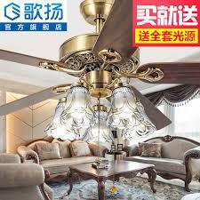 Gorilla Living Room Home Dining Ceiling Fan Lights European Antique Simple American Retro Chandelier
