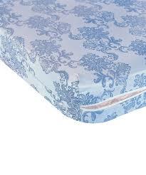 housse de matelas intégrale motifs bleu et blanc