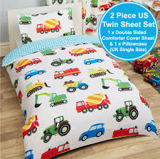 TRUCKS & TRANSPORT SINGLE DUVET COVER SET CARS FIRE ENGINE BOYS - 2 ...
