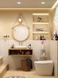 ruhige und entspannende beige badezimmeridee