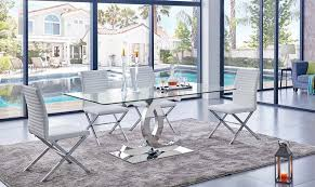 Chanelle Modern Glass Top Dining Table