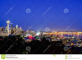 100 Beautiful Seattle Pictures Aerial View Of Skylines During Blue Hour Stock Photo Image