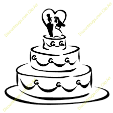 Wedding Cake clipart black and white 2