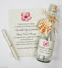 Elegant Beach Bottle Wedding Invitations Matched With Lovely Pink Flowers Painting On The