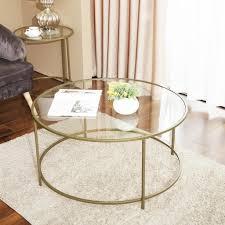 vasagle couchtisch mit goldenem eisengestell ø84 x 45 5 cm rund glastisch robustes hartglas sofatisch stabil wohnzimmertisch dekorativ gold lgt21g