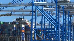 Cranes In Action At Malta Free Port, A Large Container Terminal ...