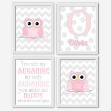 OWL Baby Girl Nursery Wall Art Pink from DezignerheartDesigns on