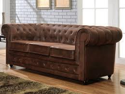 canape chesterfield cuir canapé 3 places chesterfield en microfibre aspect cuir vieilli prix