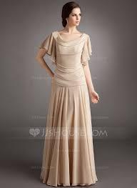 a line princess cowl neck floor length chiffon mother of the bride