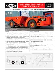 HIGH SPEED LOW PROFILE END DUMP TRUCK - DUX MACHINERY CORPORATION ...