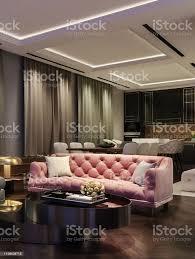 modernes interieur nachtszene mit kontrastierenden farben tausendrosa küche und esszimmer im hintergrund 3drendering stockfoto und mehr bilder