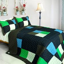 Minecraft Style Teen Boy Bedding Full Queen Quilt Set Black Green