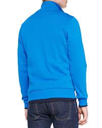 lacoste half zip pullover sweatshirt in blue for men lyst