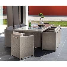 tables de jardin en resine salon de jardin en résine tressée 9 éléments gris foggia