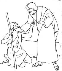 Appealing Jesus Heals Blind Bartimaeus Coloring Page