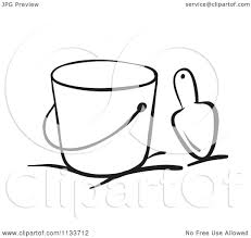 Cartoon A Black And White Beach Bucket And Trowel Royalty Free Vector Clipart by Graphics RF
