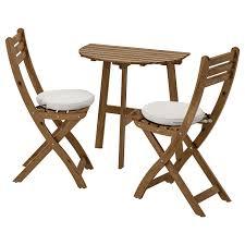 Table F Wall+2 Fold Chairs, Outdoor ASKHOLMEN Grey-brown Stained,  Frösön/Duvholmen Beige