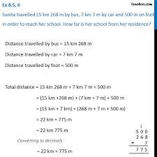 100 7m To Feet Ex 85 6 Sunita Travelled 15 Km 268 M By Bus 7 Km 7 M By Car