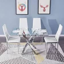 goldfan esstisch mit 4 stühlen glastisch mit weißer stuhl essgruppe mit 4 stühlen quadratischer wohnzimmertisch glas