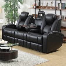 Delange Power Motion Collection Power Reclining Sofa With Drop Down Cup Holders Reading Lights Receptacles Magazine Bag 601741P