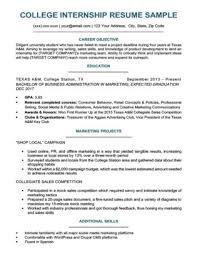 College Student Resume For Internship Sample Download