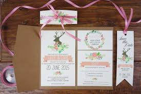 Make Your Own Rustic Wedding Invitations Mixed With Lovely Pink Ribbon Decoration And Artistic Deer