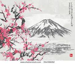 Mountain Fuji And Spring Oriental Cherry Blossoms Picture In Traditional Japanese Sumi E Style