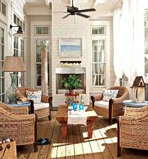 Coastal Patio With A Beautiful Living Set Up Framed Wicker Chairs