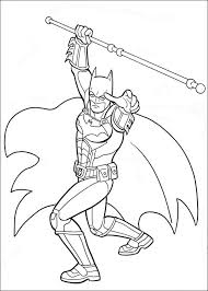 Batman Holding A Stick Coloring Pages For Kids Printable