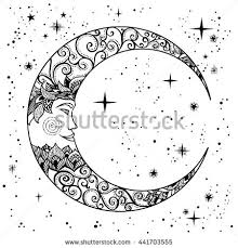 Vintage Hand Drawn Vector Illustration Face Of The Moon Tattoos Retro Graphics