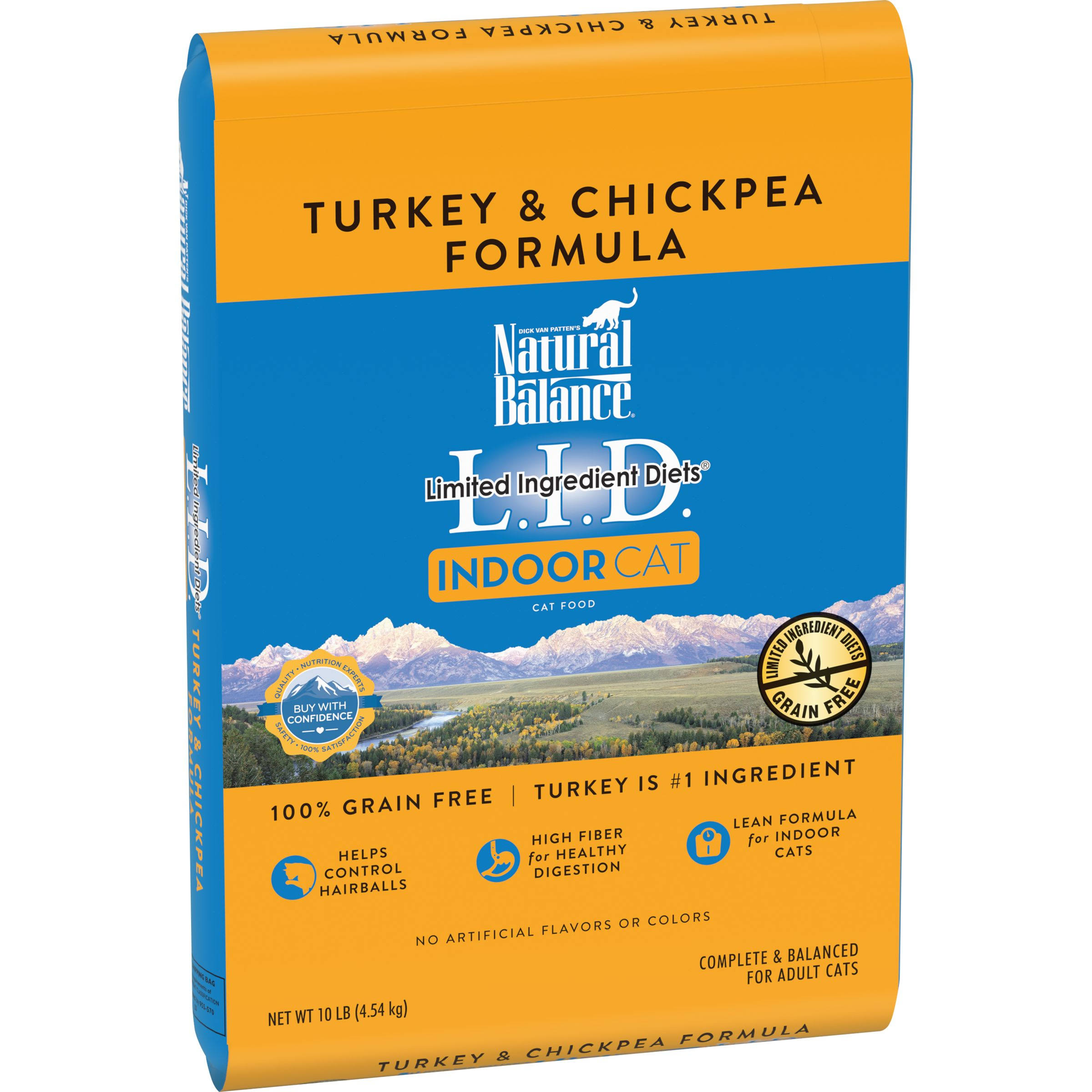 Natural Balance L.I.D. Limited Ingredient Diets Cat Food, Indoor Cat, Turkey & Chickpea Formula - 10 lb
