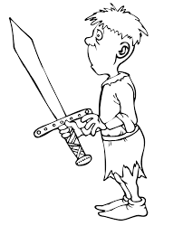 Knight Coloring Page Squire Holding Knights Sword