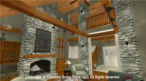 Wood Beam Cedar Plank Cathedral Ceilings And Stone Fireplace Add Vibrant Beauty To Sophisticated Rustic Plan