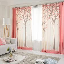 neue bunte baum druck halb schatten tuch vorhang fertig rosa baum vorhänge für schlafzimmer und wohnzimmer
